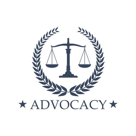 擁護のエンブレムとシンボル正義のスケールの法人または公証人の会社。記号または弁護士の法的擁護者や弁護士事務所のバッジ。紋章の月桂樹の