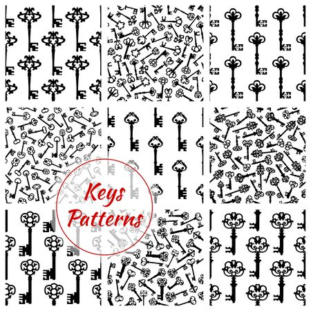 locks: Key patterns set of keys from locks. Vector seamless background of antique, vintage and heraldic keys with ornate retro bows, forged flowery engravings