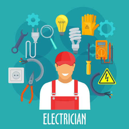Electrician profession poster. Vector electrician man in uniform with electricity repair tools and items safety gloves, screwdriver and wrench, pliers, ampermeter or voltmemer, eclectic lamp cable, magnifying glass, plug and socket, danger sign