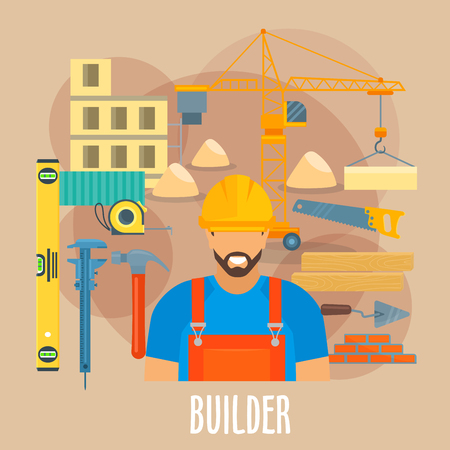 building bricks: Builder profession poster. Vector worker man in uniform and safety helmet with building and constriction work tools and items level ruler, micrometer or caliper and hammer, crane, saw and concrete trowel, bricks and measure tape, house timber bars