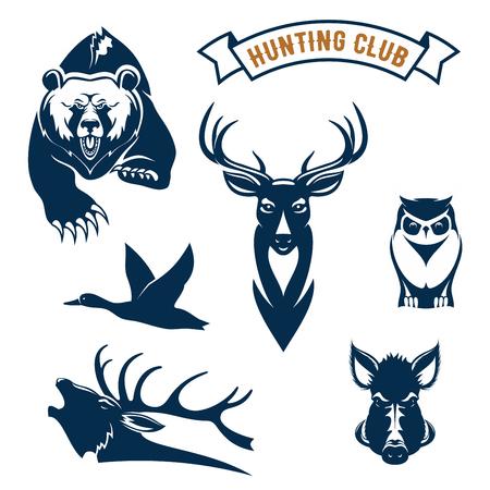eber: Hunting Club Ikonen der Jagd wilde Tiere Grizzly-Bären, Hirsche oder Rentiere, fliegende Ente und Elch Geweih, eule, Wildschwein oder aper. Vektor-Symbole und Farbband für Jagd Abenteuersport Zeichen, Jäger Club Abzeichen oder Embleme