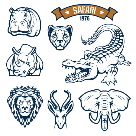 Hunting club emblems. African safari hunt animals vector isolated icons of lion, cheetah panther or leopard, antelope, alligator crocodile, elephant, hippopotamus and rhinoceros. Vector signs, badges and ribbon for savanna hunter sport Illustration