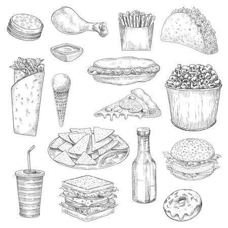 croquis icônes Fast Food. Vector isolé hamburgers sandwich cuisse de poulet et frites, tacos, burritos ou kebab. Junk food hot-dog et de la crème glacée, des pizzas et du pop-corn, chips nachos et ketchup, cheeseburger hamburger, boisson bouteille de soda et un beigne