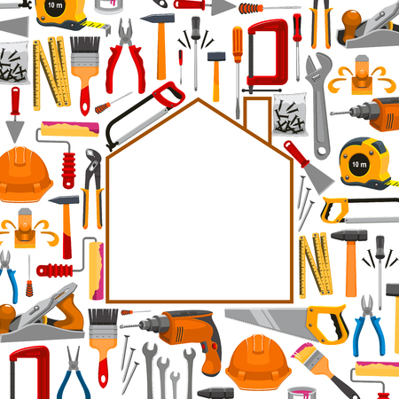 Repair, carpentry, building and home fix poster with vector work tools and working instruments plaster trowel and paint brush roll, tape measure ruler, drill, hammer and saw, spanner wrench and screwdriver, plane and mallet, pliers or nippers