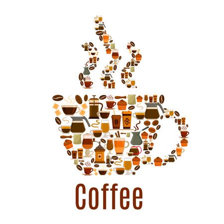 Taza de café. Vector del cartel de la humeante taza de café caliente del grano de café, capuchino o moka, pasteles y galletas dulces magdalenas, molino de café o fabricante de la amoladora y café, postres de chocolate, turco cezve olla. Cafe, diseño del símbolo de la cafetería Foto de archivo - 69602728