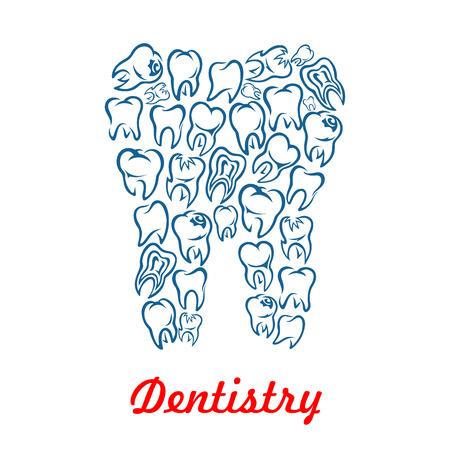 forme et sante: Stomatologie et odontologie affiche avec la forme des dents conçu des dents humaines. symbole de vecteur de la dent saine blanc pour dentiste, clinique stomatologue, centre de santé d'odontologie ou de la conception de pâte dentifrice