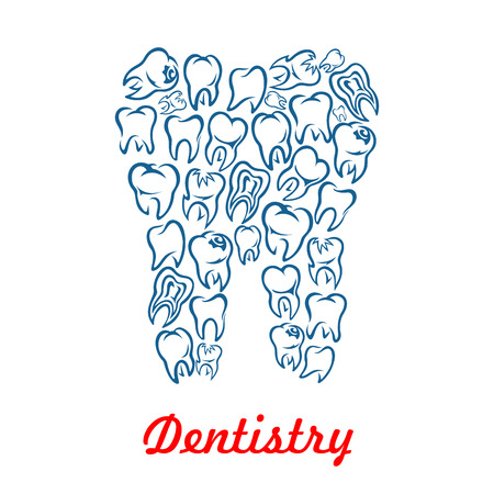 stomatologist: Stomatology and dentistry poster with tooth shape designed of human teeth. Vector symbol of healthy white tooth for dentist, stomatologist clinic, odontology health center or tooth paste design
