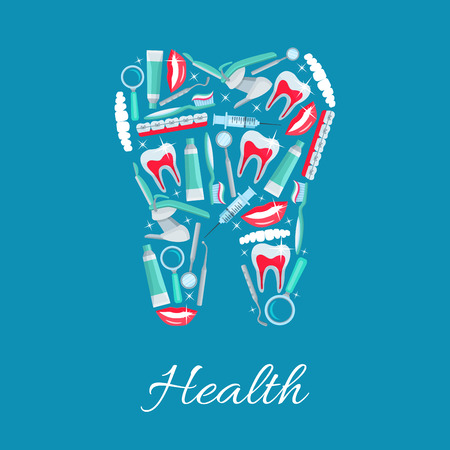 stomatologist: Dentistry tooth symbol designed of dental health and care items and dentist tools orthodontic braces, tooth paste and brush, tooth implant, mouth mirror, syringe, magnifying glass, stomatologist chair. Vector odontology, stomatology poster Illustration