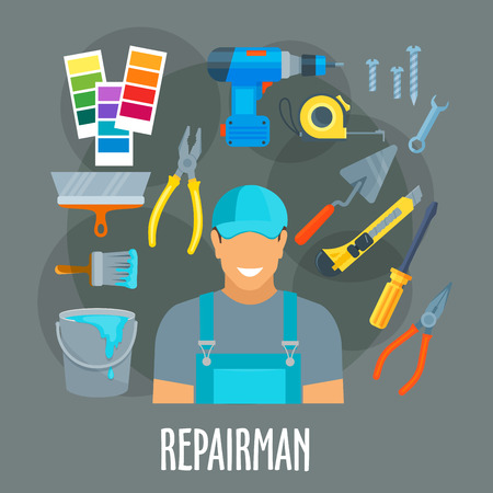 Repairman, painter or finisher worker man in uniform with painting, finishing or home repair work tools or items electric drill, trowel, pliers, paint brush roll and bucket, tape measure ruler, screwdriver and wrench. Vector profession poster Illustration