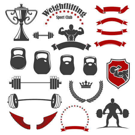 stars and symbols: Weightlifting icons. Vector isolated weightlifter athlete muscle torso, iron barbell with weight dumbbell. Ribbon banners, wings and winner cup award, wreath of stars, crown shield symbols for gym, fitness, crossfit emblem, badge or sign