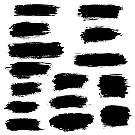 Vector black paint brush strokes, highlighter lines or felt-tip pen marker horizontal blobs. Marker pen or watercolor isolated lines or brushstrokes and dashes. Ink smudge abstract shape stains and smear traces set with grunge texture Ilustracje wektorowe