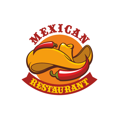 jalapeno: Mexican restaurant sign. Vector isolated emblem with icons of sombrero hat and hot spicy chili pepper jalapeno. Badge for mexican burrito fast food or tacos snack bar, traditional authentic mexican dish cafe menu