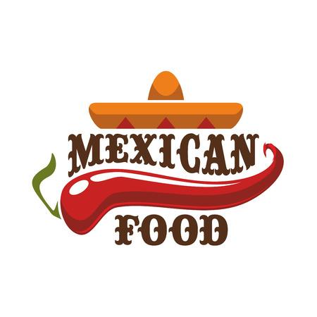 Picante mexicana y caliente icono de la comida tradicional. Insignia para la comida mexicana burrito rápido, barra de tacos aperitivo o auténtico menú de un restaurante mexicano. Emblema de vector con sombrero de sombrero y rojo picante de chile picante pimiento jalapeño Foto de archivo - 69602678