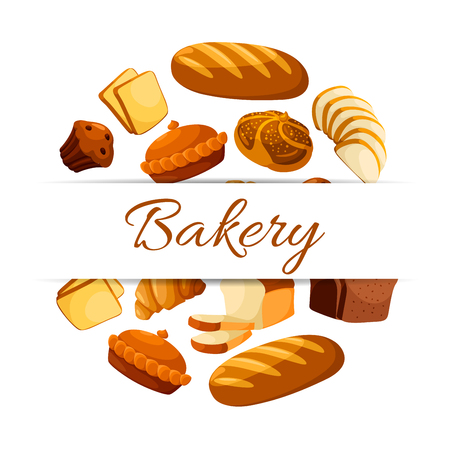 Bakery shop and pastry poster of vector rye bread loaf brick or bagel, sliced wheat bread toasts, crunch pie or cake, sweet croissant and chocolate muffin or cupcake dessert. Design for patisserie or grocery store