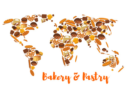 sacks: Bread world map. Bakery and pastry symbol or poster of wheat and rye ears and bread loaf or bagel, flour bag sack with dough on board and rolling pin, croissant, pretzel, sweet bun and muffin, dessert pie. Patisserie or grocery vector poster