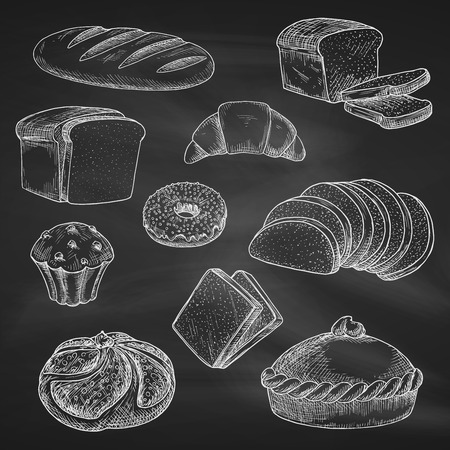 chalk drawing: Bread icons. Chalk sketch on blackboard or chalkboard. Vector isolated wheat bread loaf brick or bagel, sliced rye bread toasts, crunch pie or cake, chocolate muffin with sweet croissant or cupcake dessert. Bakery shop, pastry or patisserie chalked design Illustration