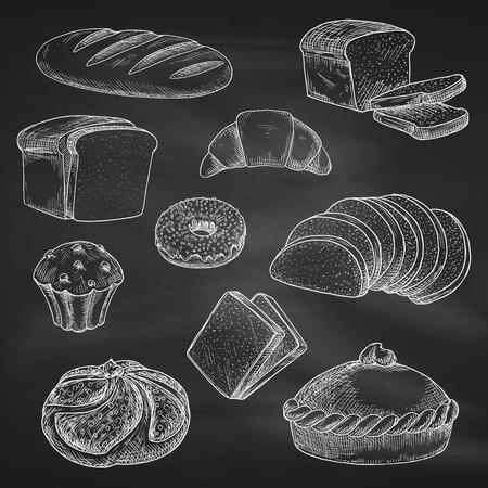magdalenas: iconos de pan. Tiza dibujo en la pizarra o pizarrón. aislado pan de trigo pan o bagel de ladrillo del vector, rodajas tostadas de pan de centeno, empanada o pastel crujiente, muffins de chocolate con croissant dulce o postre de la magdalena. panadería, repostería o pastelería de diseño marcada con tiza