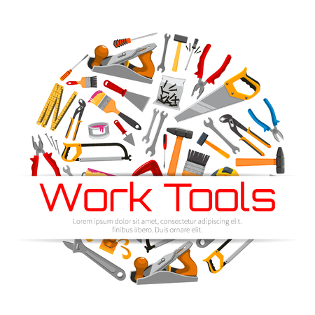 Repair, carpentry work tools poster. Vector working instruments hammer and saw, pliers nippers, plaster trowel and paint brush roll, tape measure ruler, spanner wrench and screwdriver plane and mallet. Building and construction items