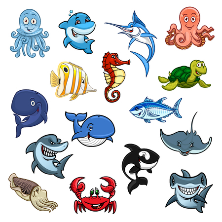 Cartoon sea animals, ocean fishes. Vector isolated icons of dolphin, whale and shark, octopus and squid, cachalot and killer whale or orca, butterflyfish, turtle and stingray, hammerhead and swordfish, seahorse and crab with tuna or piranha