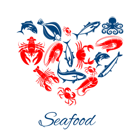Seafood vector poster designed in heart shape of sea food fish, shrimp and squid, crab lobster, tuna and salmon or trout, herring and octopus with flounder. Symbol for seafood oriental and Mediterranean cuisine, fish market or restaurant