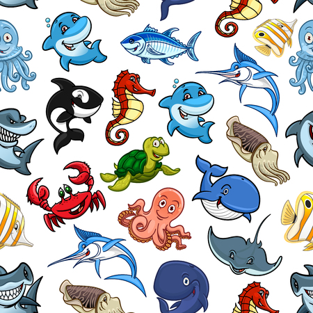 hammerhead shark: Sea animals and cartoon ocean fishes seamless pattern of vector whale, shark and dolphin, octopus and squid, turtle and stingray, hammerhead and swordfish, seahorse and crab with tuna or piranha, cachalot and killer whale or orca, butterflyfish Illustration