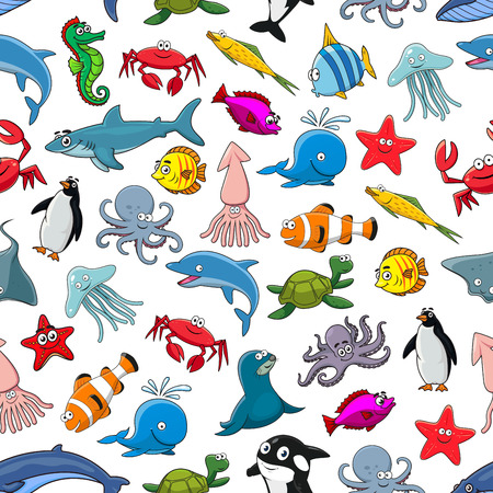 butterflyfish: Sea fish, ocean animals and shellfish cartoon seamless pattern of vector clown fish and butterflyfish, starfish and jellyfish, dolphin, shark and whale, seahorse and octopus, stingray and penguin, lobster crab and squid, turtle, tropical fishes Illustration