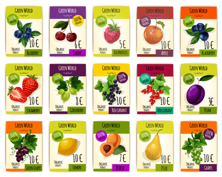 Fruits tags or cards with price. Vector set of fresh harvest of organic fruits blueberry, cherry and raspberry, apple, blackberry and strawberry, gooseberry, black and red currant, plum and grape, lemon and apricot with pear for farm market or shop