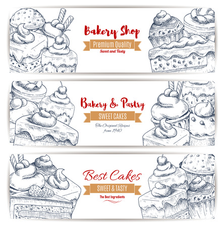 patisserie: Bakery, pastry desserts sketch of sweets, cakes and cupcakes with fruits and berries, chocolate muffins, creamy pies and tarts with puddings. Vector banners set for baker shop, cafe, cafeteria, patisserie dessert menu Illustration