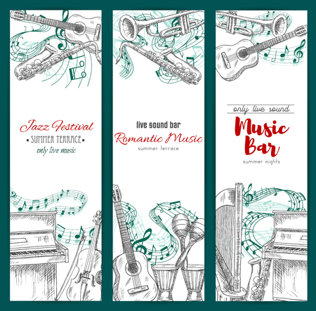 fiddlestick: Musical festival, music bar banners set. Vector sketch musical instruments jazz saxophone, acoustic guitar and piano with violin bow, maracas and ethnic drums, harp and trumpet with music notes stave for live sound play Illustration