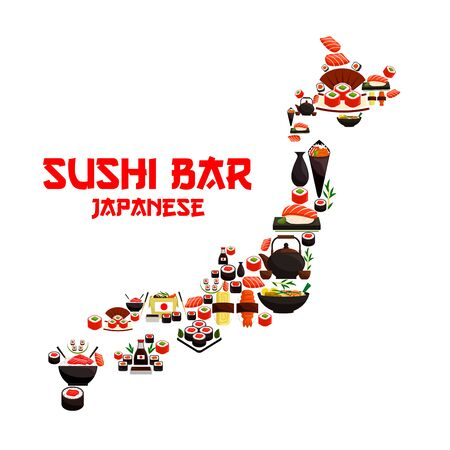 sashimi: Seafood in Japan map of sushi rolls and salmon sashimi, wok steamed rice with shrimps and miso soup bowl with fish, nori seaweed, wasabi and soy sauce bottle, chopsticks and green tea pot. Vector oriental japanese cuisine design Illustration