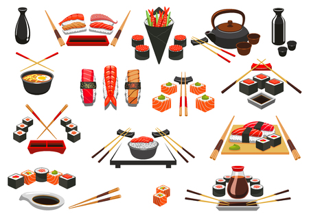 sashimi: Sushi rolls, sashimi and seafood emblems. Japanese oriental cuisine food of salmon fish and shrimp, steamed rice and miso soup, seafood bento, green tea, wasabi and soy sauce, chopsticks. Sushi bar menu symbols or vector isolated icons