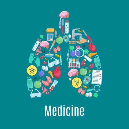 cartel médico diseñado de artículos de medicina y herramientas en símbolo de los pulmones. medicamentos cirugía vector de jeringas, pastillas, ensayos y vasos, corazón, cerebro y riñón, útero y testículos, vejiga órganos humanos, tonómetro y el glucómetro, bacteria o un virus