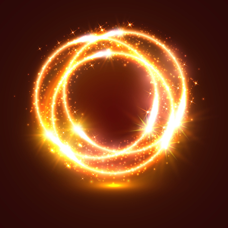 Bursting and sparkling light flashes or sparkler lights traces. Circles of bright burning fire with shiny glitter sparks. Spinning and glittering golden star glow and twirl of sun beams
