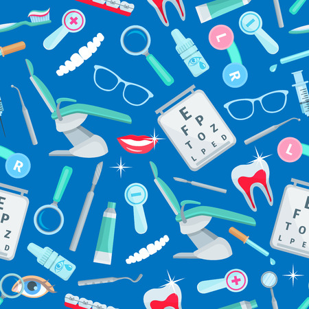 stomatologist: Dentistry, stomatology seamless pattern of vector dental health and care items and dentist tools orthodontic braces and tooth implant, mouth mirror, syringe and magnifying glass, stomatologist chair, tooth paste and brush Illustration