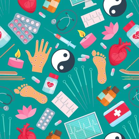 침술 원활한 패턴입니다. 동양 대체 및 중국 보완 의학 치료 항목 바늘, 건강, 손, 발, 음과 양 기호, 약물 알 약 및 촛불, 주사기, 심장, 아로마 스틱 및