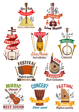 concert flute: Musical instruments icons. Balalaika, oriental koto or biwa, banjo, lute, harmonica accordion, flute and violin, music note clef, ethnic drum, bandura, lute and zither. Vector isolated badges, emblems or ribbons for musical festival, folk concert