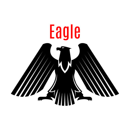 Black heraldic eagle emblem. Gothic design of falcon or hawk. Vector isolated icon of sign of phoenix with open spread wings and sharp clutches. Predatory bird symbol for army or military shield, sport team mascot, security badge Illustration