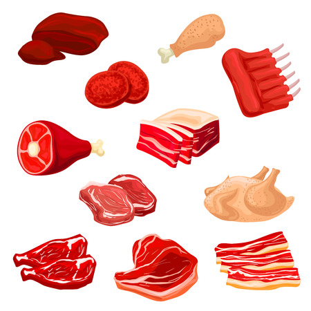 Meat isolated icons. Pork bacon and tenderloin or chop, mutton ribs, beefsteak, beef raw filet and steak, t-bone sirloin, poultry turkey and chicken leg, meat liver and meaty cutlet. Butcher shop fresh meat offal vector icons