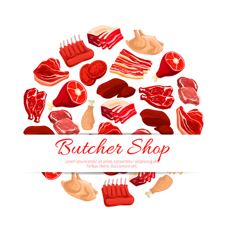 Butchery shop poster of vector fresh meat assortment. Butcher and farm beefsteak, beef raw filet and steak, t-bone sirloin, poultry turkey and chicken leg, pork bacon and tenderloin or chop, mutton ribs, liver and meaty cutlet or meat products Vetores