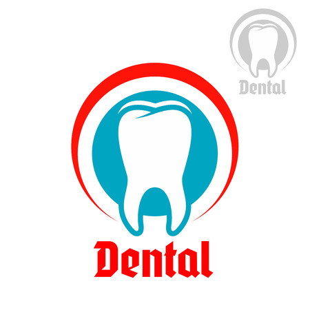 teeth white: Dentistry, odontology, stomatology emblem. Vector badge or sign of healthy white tooth with round circle symbol of mouth. Isolated icon for dentist, stomatologist clinic or teeth health center or tooth paste design