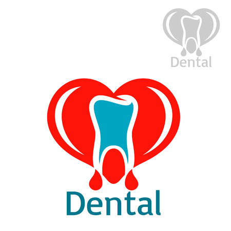 stomatologist: Stomatology icon with tooth. Dentistry and odontology vector isolated flat badge or sign of healthy white tooth with red heart in shape of open mouth. emblem for dentist, stomatologist clinic, teeth health center or tooth paste design