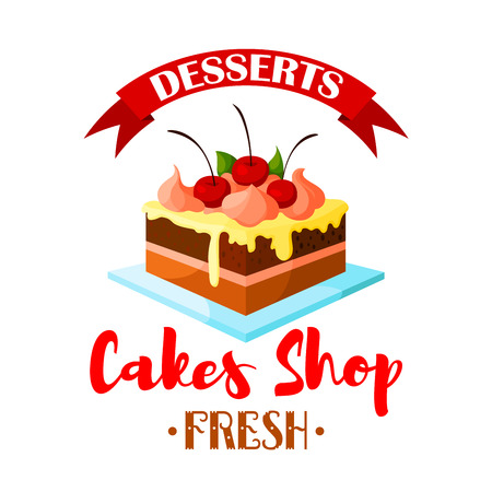 patisserie: Cake dessert emblem. Bakery shop, pastry or patisserie confectionery isolated icon or badge. Vector sweet chocolate cake, cupcake or tart on plate with vanilla whipped cream and cherry berry topping with ribbon