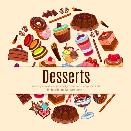 Pastry, bakery and patisserie shop poster with sweet desserts, fruit cakes and berry cupcakes, chocolate muffin and vanilla pudding, creamy pie, honey waffles or wafers, biscuits and macaron cookies, ice cream for cafe, cafeteria menu Stock Vector - 69602625