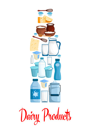 Milk and dairy poster. Bottle of milk designed of dairy village and farm products cheese, sour cream jar and butter, milk curd and milkshake, cottage cheese, yogurt or kefir, whisk and spoon. Vector symbol Illustration