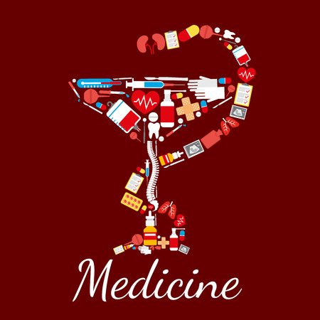 Bowl of Hygieia medical and pharmacy symbol of snake twined around bowl. Medicine poster of vector drugs and pills capsules, human spine, kidney and lungs with hear, medical thermometer with surgery scalpel, ultrasonography, blood dropper and tooth Illustration