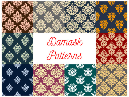 fabric pattern: Floral damask seamless pattern background set. Ornate baroque flower ornament. Vintage victorian flourishes pattern for wallpaper, fabric, invitation design Illustration