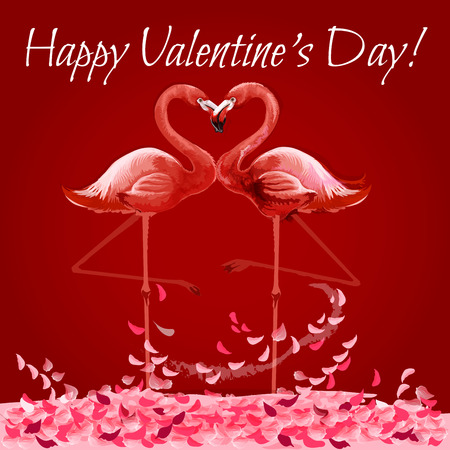 Valentine Day greeting card with flamingo love heart. Loving couple of exotic pink birds forming heart shape while kissing. Romantic valentines card, poster or wedding invitation design