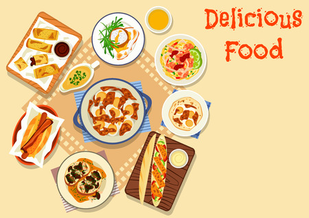 egg sandwich: Tasty snacks for lunch icon of hot dog with sausage and bacon, mushroom sandwich, egg curry, shrimp noodles, baguette with fried chicken, meatball topped with poached egg, potato rolls with bean sauce