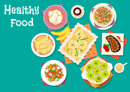 cheese cake: Healthy meat dishes with fruit desserts icon of beef vegetable stew, stuffed pepper with rice, banana pudding, apple cheese pie, stuffed eggplant with meat, salmon veggies salad, cream cheese cake