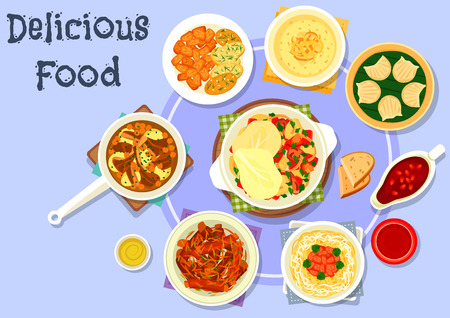 fried shrimp: Asian cuisine dinner icon with pork noodle, lamb stew with tomato and pepper, spicy pork ribs, shrimp dumplings, fried meat with potato, pomegranate sauce, meat chickpea stew, custard dessert Illustration